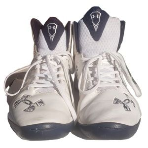 Under Armour AllWhite Navy Accent HighTop Sneakers
